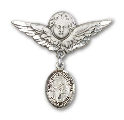 Pin Badge with St. John of the Cross Charm and Angel with Larger Wings Badge Pin - Silver tone