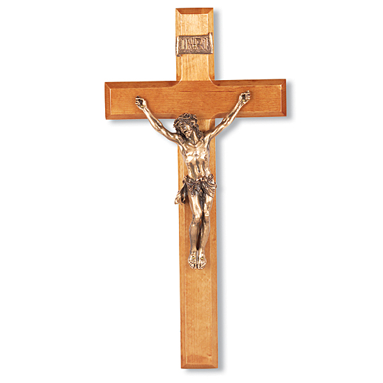 Gold-tone Corpus and Natural Cherry Wood Wall Crucifix - 12 inch - Brown