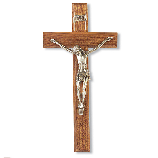 Narrow Corpus with Silver-tone Walnut Wall Crucifix - 12 inch - Brown