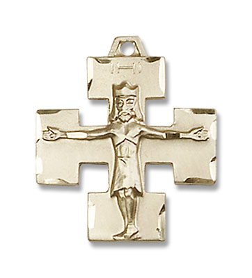 Modern Block Crucifix Medal - 14K Solid Gold