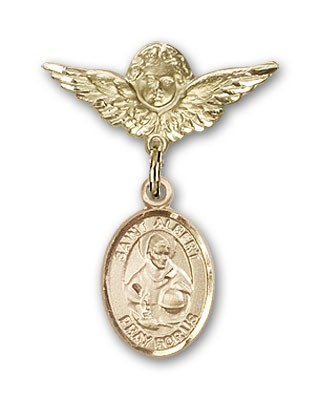 Pin Badge with St. Albert the Great Charm and Angel with Smaller Wings Badge Pin - Gold Tone