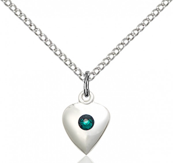 Baby Heart Pendant with Birthstone Options - Emerald Green