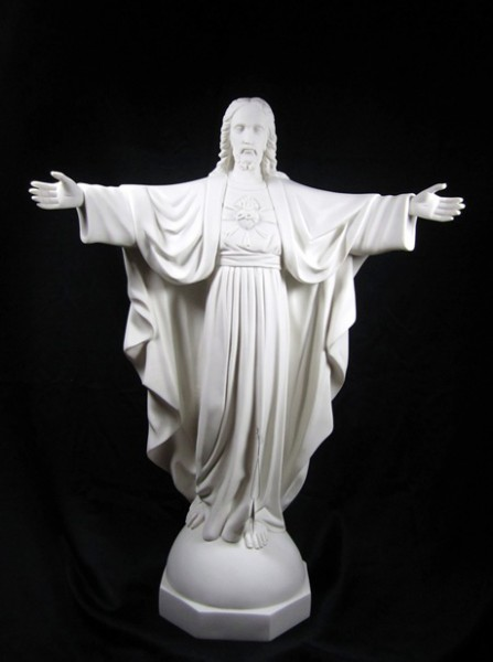 Sacred Heart Statue White Marble Composite - 30 inch - White