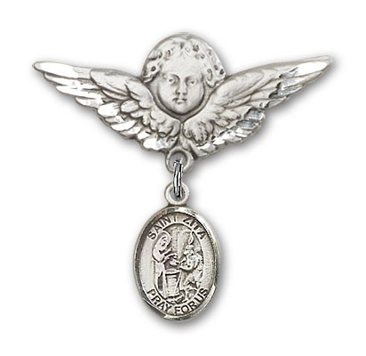Pin Badge with St. Zita Charm and Angel with Larger Wings Badge Pin - Silver tone