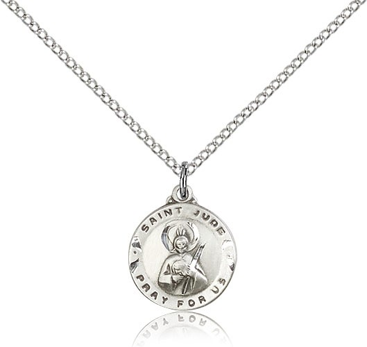 Small St. Jude Medal Round - Sterling Silver