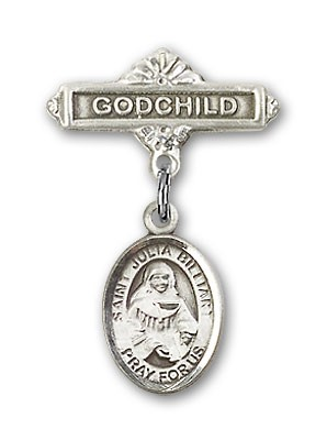 Pin Badge with St. Julia Billiart Charm and Godchild Badge Pin - Silver tone