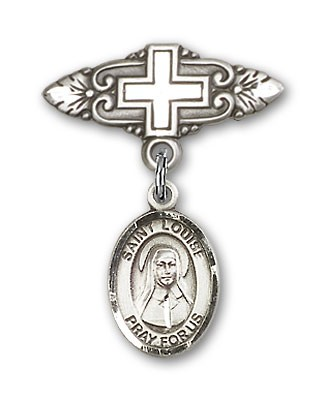 Pin Badge with St. Louise de Marillac Charm and Badge Pin with Cross - Silver tone