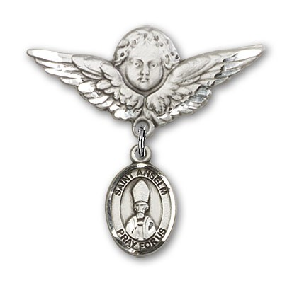 Pin Badge with St. Anselm of Canterbury Charm and Angel with Larger Wings Badge Pin - Silver tone
