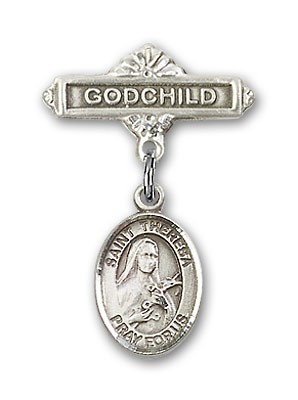 Pin Badge with St. Theresa Charm and Godchild Badge Pin - Silver tone