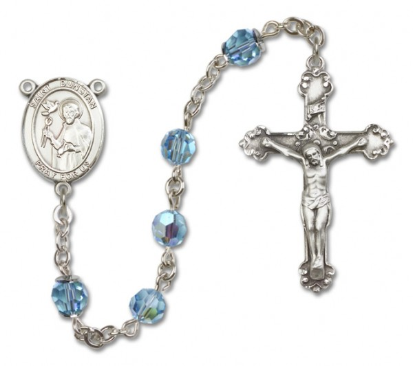 St. Dunstan Sterling Silver Heirloom Rosary Fancy Crucifix - Aqua