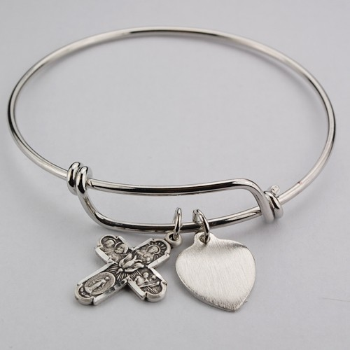 Girl's 4-Way Cross Bangle Bracelet Engravable Heart Charm - Silver