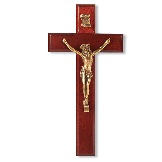 Classic Dark Cherry Wood Wall Crucifix - 10 inch - Cherry Wood