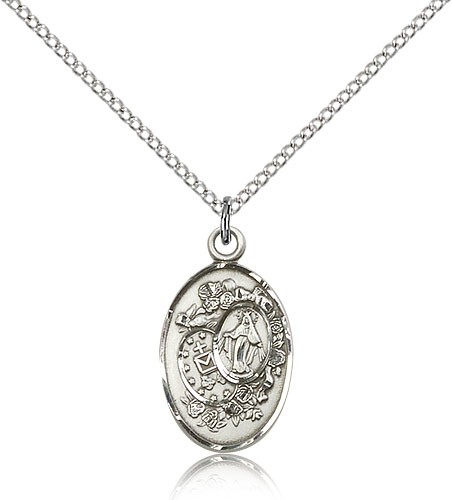 Women's Miraculous Medals Necklace - Sterling Silver