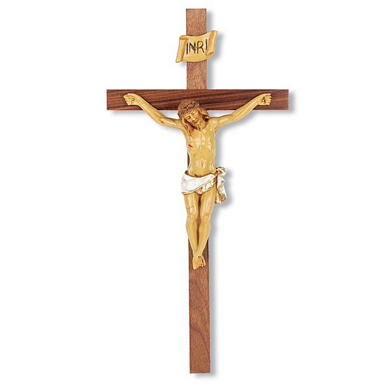 Slimline Hand-Painted Corpus Walnut Wall Crucifix - 13 inch - Brown