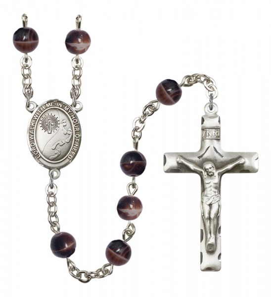 Men's Footprints Cross Silver Plated Rosary - Brown