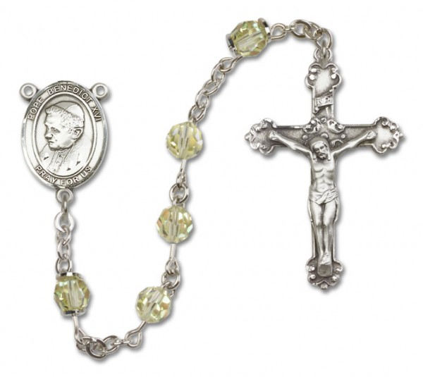 Pope Benedict XVI Sterling Silver Heirloom Rosary Fancy Crucifix - Jonquil