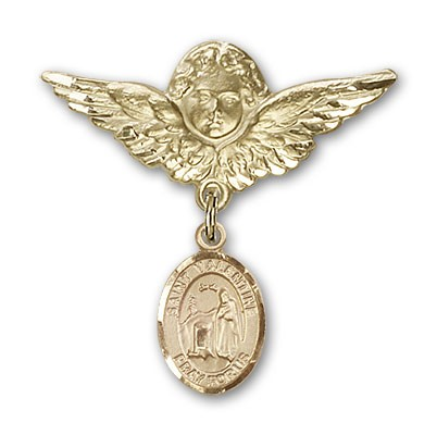 Pin Badge with St. Valentine of Rome Charm and Angel with Larger Wings Badge Pin - 14K Solid Gold