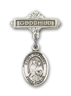 Pin Badge with St. Raphael the Archangel Charm and Godchild Badge Pin - Silver tone