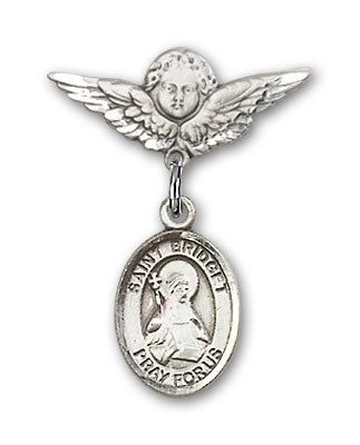 Pin Badge with St. Bridget of Sweden Charm and Angel with Smaller Wings Badge Pin - Silver tone