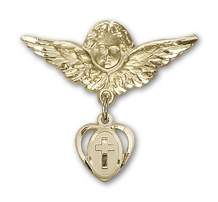 Pin Badge with Cross Charm and Angel with Larger Wings Badge Pin - Gold Tone