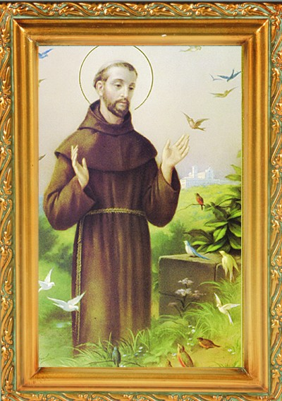 St. Francis Antique Gold Framed Print - Full Color
