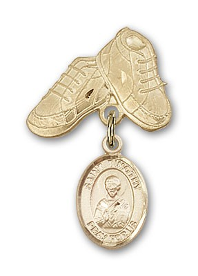 Pin Badge with St. Timothy Charm and Baby Boots Pin - Gold Tone