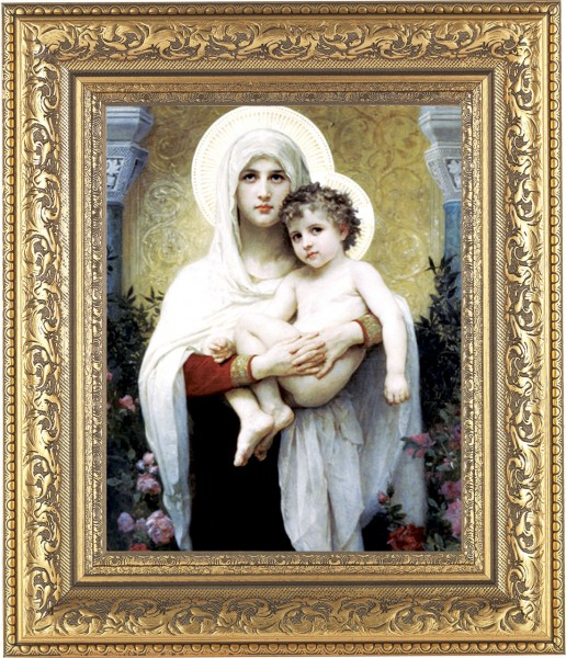 Madonna and Child with Halos Framed Print - #115 Frame