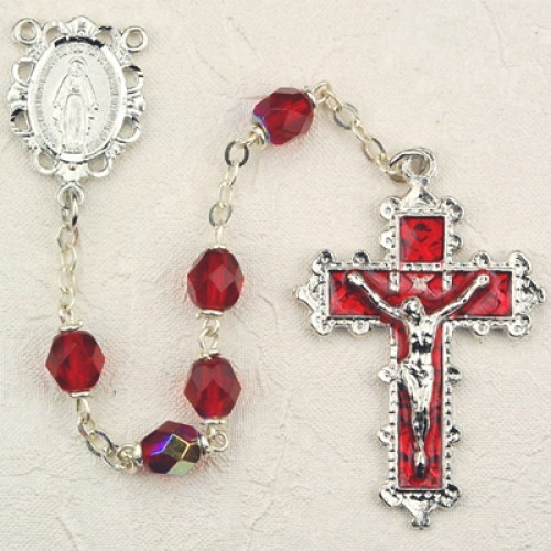 July Birthstone Rosary (Ruby) - Rhodium Plated - Ruby Red