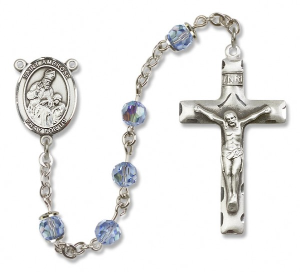 St. Ambrose Rosary Heirloom Squared Crucifix - Light Sapphire