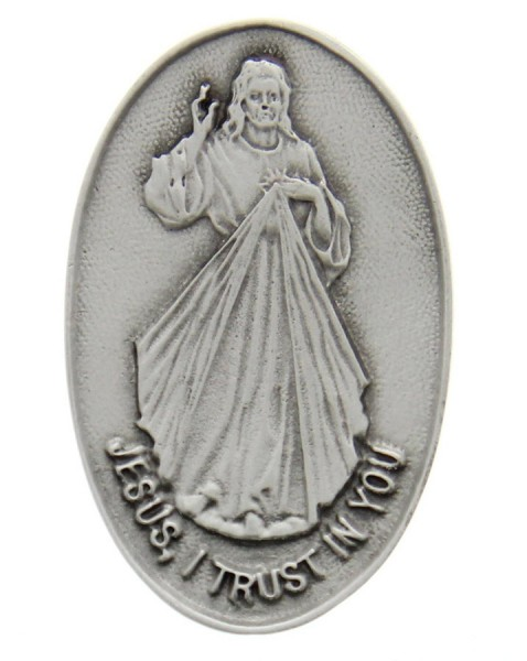 "Divine Mercy Visor Clip, Pewter - 2 3/8""H - Silver"