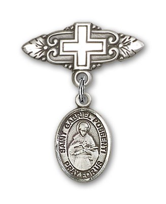 Pin Badge with St. Gabriel Possenti Charm and Badge Pin with Cross - Silver tone