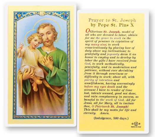 St. Joseph Prayer By Pius X Laminated Prayer Cards 25 Pack - Full Color