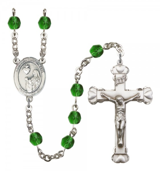 Women's St. Margaret Mary Alacoque Birthstone Rosary - Emerald Green