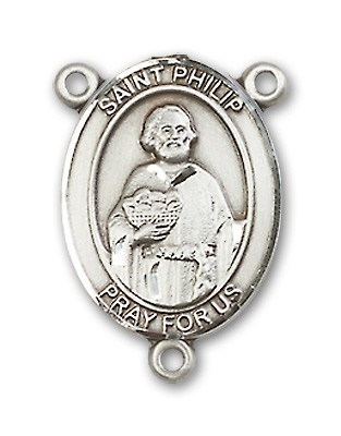 St. Philip the Apostle Rosary Centerpiece Sterling Silver or Pewter - Sterling Silver