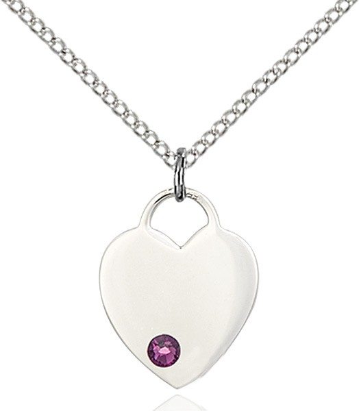 Small Heart Shaped Pendant with Birthstone Options - Amethyst