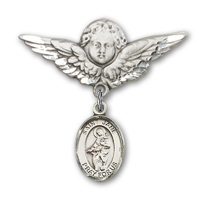 Pin Badge with St. Jane of Valois Charm and Angel with Larger Wings Badge Pin - Silver tone