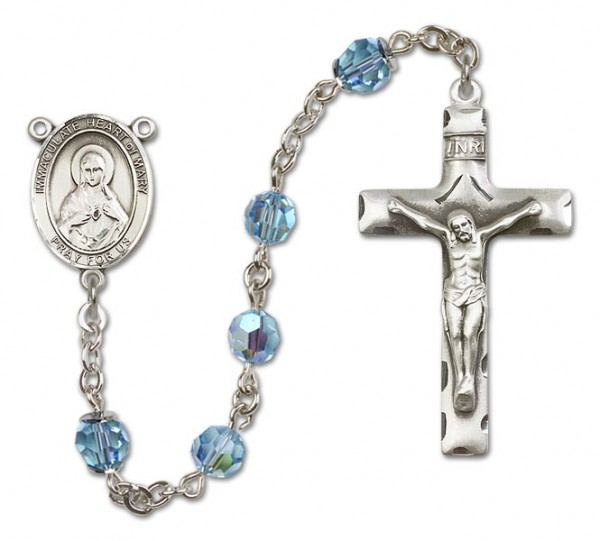 Immaculate Heart of Mary Rosary Heirloom Squared Crucifix - Aqua