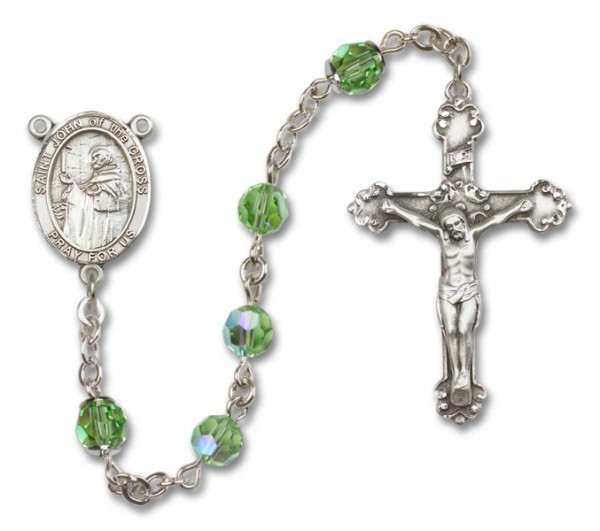 St. John of the Cross Sterling Silver Heirloom Rosary Fancy Crucifix - Peridot