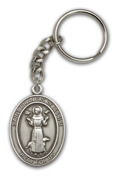 St. Francis of Assisi Oval Shaped Keychain - Antique Silver