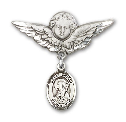 Pin Badge with St. Brigid of Ireland Charm and Angel with Larger Wings Badge Pin - Silver tone
