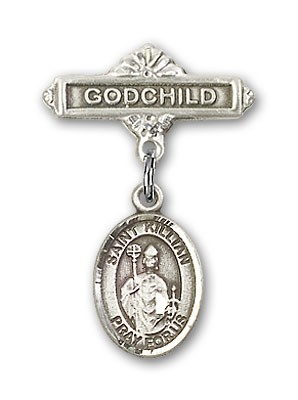 Pin Badge with St. Kilian Charm and Godchild Badge Pin - Silver tone