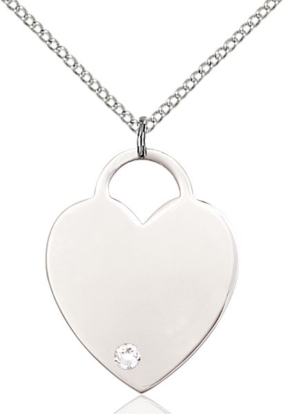 Large Women's Heart Pendant with Birthstone Options - Crystal