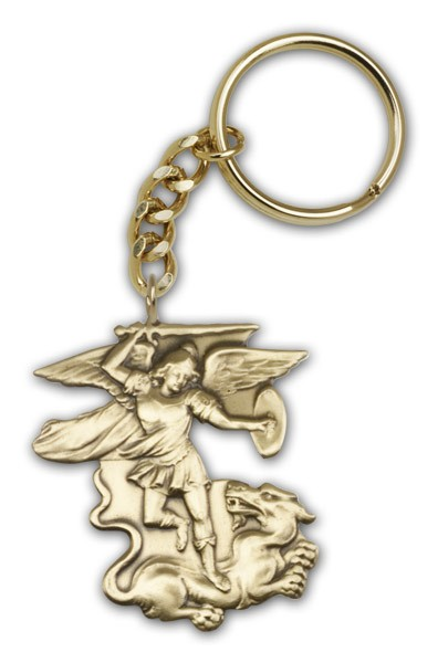 St. Michael the Archangel Keychain - Antique Gold