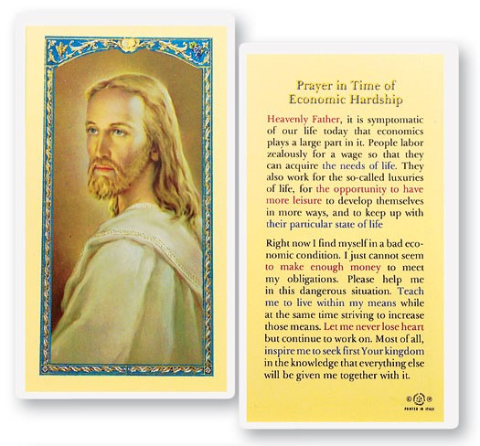Prayer In Times of Economic Struggle Laminated Prayer Cards 25 Pack - Full Color