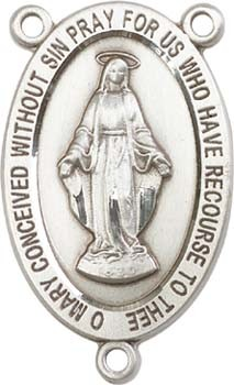 Traditional Miraculous Medal Rosary Centerpiece - Sterling Silver