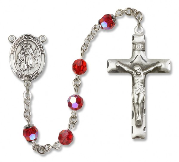 St. John the Baptist Sterling Silver Heirloom Rosary Squared Crucifix - Ruby Red