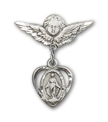 Pin Badge with Miraculous Charm and Angel with Smaller Wings Badge Pin - Silver tone