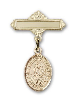 Pin Badge with St. Lidwina of Schiedam Charm and Polished Engravable Badge Pin - 14K Solid Gold