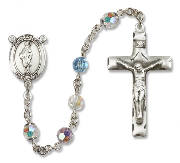 St. Gregory the Great Sterling Silver Heirloom Rosary Squared Crucifix - Multi-Color