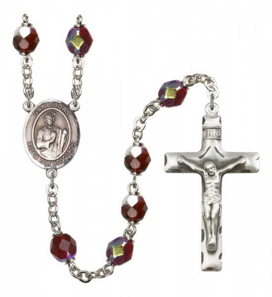 Men's San Judas Silver Plated Rosary - Garnet